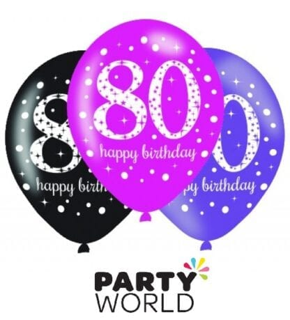 80th Birthday Pink Sparkling Celebration Assorted Latex Balloons (6)
