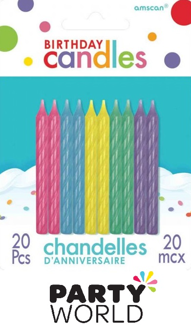 Birthday Cake Candles Spiral Pastel Assorted (20)