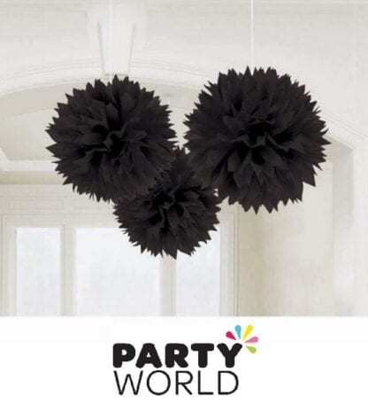 Black Fluffy Tissue Party Decorations (3)
