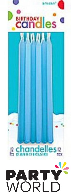 Blue Birthday Tapered Cake Candles (12)