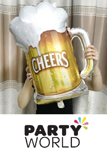 Cheers Gold Foaming Beer Glass Foil Balloon