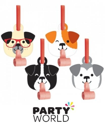 Dog Party Blowouts With Medallions Assorted (8)
