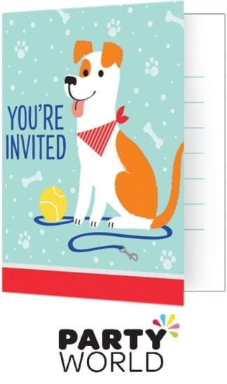 Dog Party Invitations Foldover Style 10cm x 13cm (8)