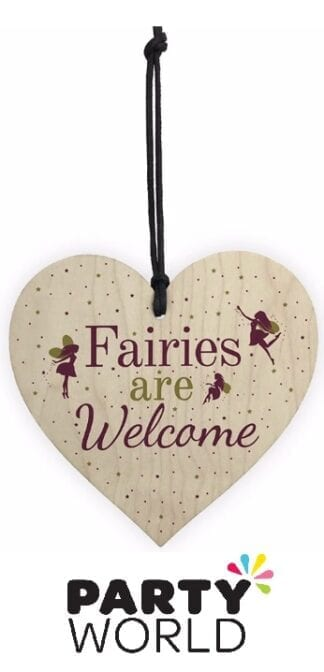 Fairy Garden Party Fairies Welcome Hanging Wooden Heart Sign
