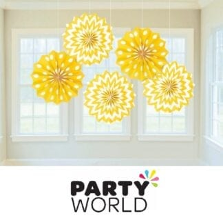 Fan Decorations Printed Paper Yellow Sunshine (5)