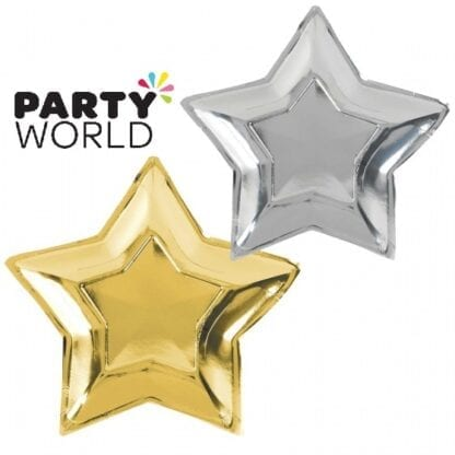 Gold And Silver Foiled Paper Star Shaped Plates (10)