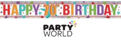 Happy 70th Birthday Holographic Foil Party Banner