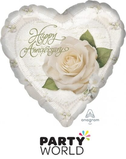 Happy Anniversary Petals And Pearls 22cm Foil Balloon