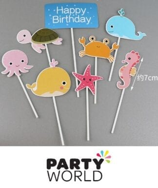 Happy Birthday Sea Creature Party Cake Toppers (8)