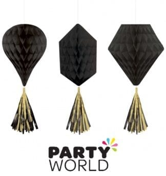 Honeycomb Mini Gold And Black Hanging Decorations (3)