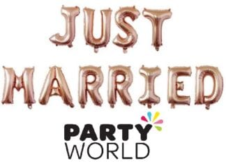 Just Married Rose Gold Foil Balloon Banner