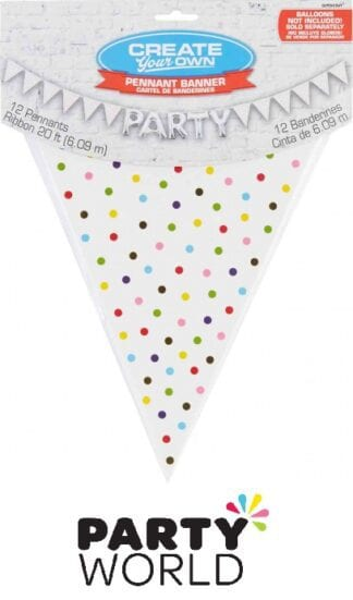 Large Paper Create Your Own Pennant Banner Rainbow Dots
