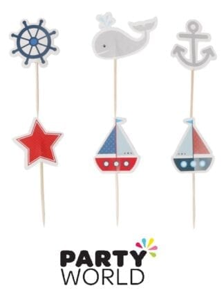 Nautical Party Assorted Cake Or Cupcake Toppers (24)