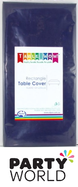 Navy Blue Plastic Rectangular Party Tablecover