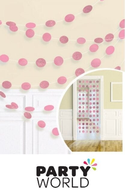 New Pink Round Glitter String Hanging Decorations