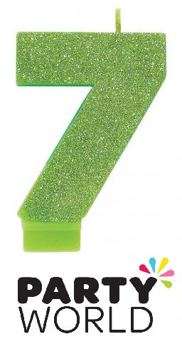 Number Seven Green Glitter Cake Candle