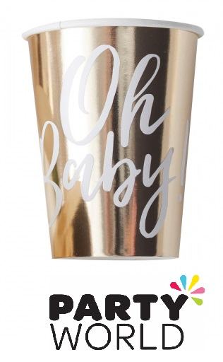 Oh Baby Gold Party Paper Foiled Cups (8)