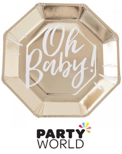 Oh Baby Gold Party Paper Foiled Plates (8)