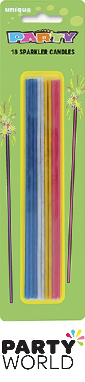 Party Sparkler Long Cake Candles - Assorted (18pk)