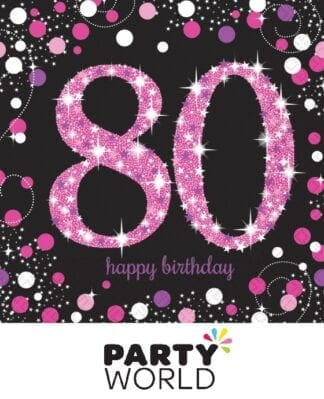 Pink Celebration 80th Birthday Lunch Napkins (16)