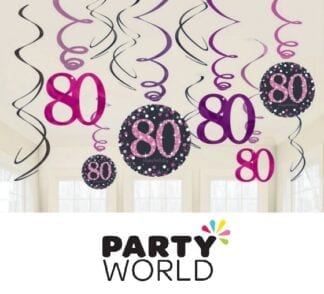 Pink Celebration 80th Birthday Swirl Decorations (12)
