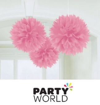 Pink Fluffy Tissue Party Decorations (3)
