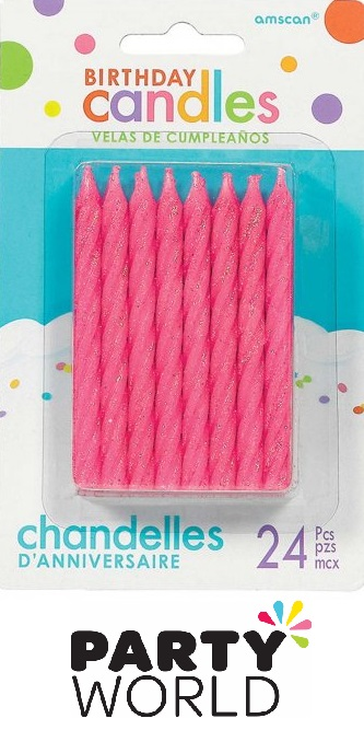 Pink Spiral Glitter Party Cake Candles (24)