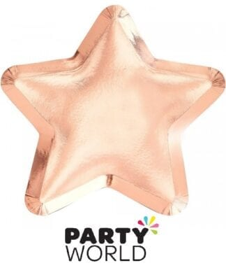 Rose Gold Foiled Paper Star Shaped Plates (8)