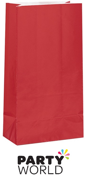 Ruby Red Paper Party Gift Bags (12)
