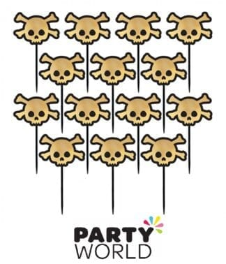 Skull Shaped Gold Foil Party Picks (36)