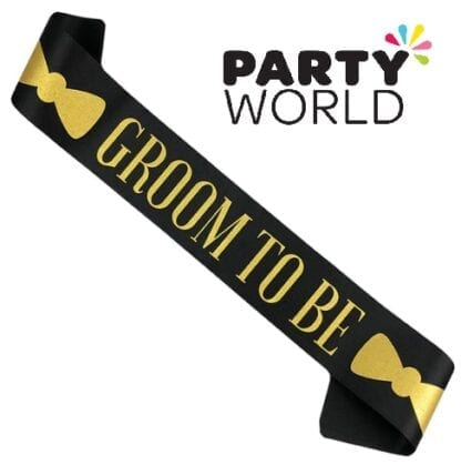 Stag Night Groom To Be Black And Gold Sash