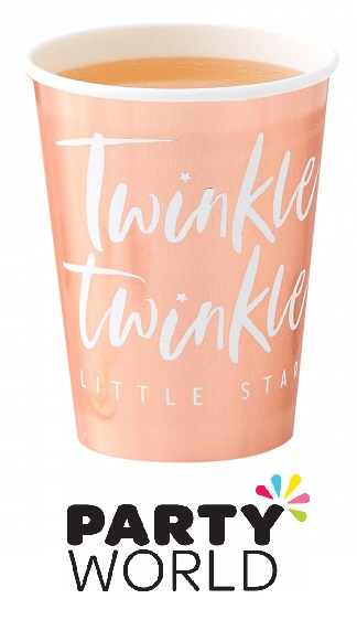 Twinkle Star Rose Gold Foiled Paper Party Cups (8)