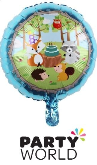 Woodland Animals Boys Party Round Foil Balloon