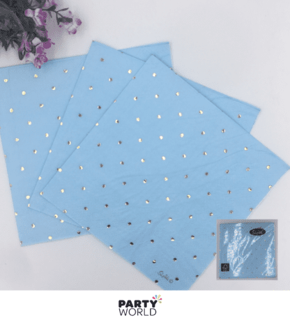 blue napkins with gold dots