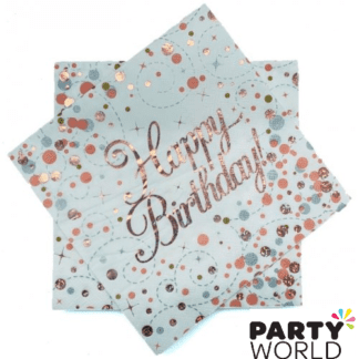 happy birthday rose gold napkins