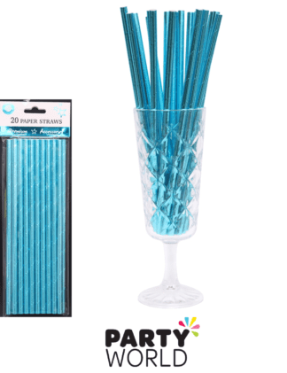 metallic blue paper straws