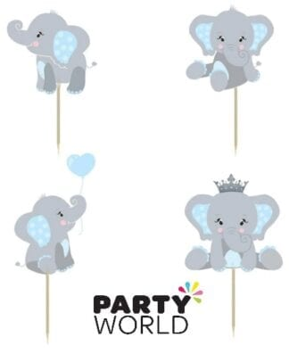 Blue Elephants Cupcake Cake Toppers (24pk)