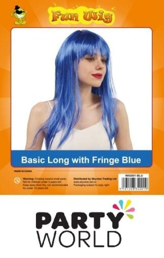 Blue Long With Fringe Ladies Wig