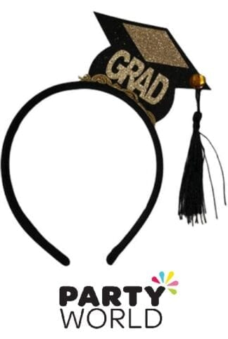Congrats Grad Party Black And Gold Headband With Tassel