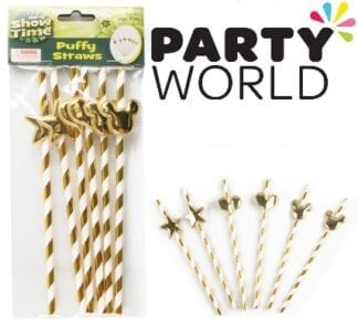 Gold And White Striped Straws With Stars, Hearts And Bunny Ears (6)
