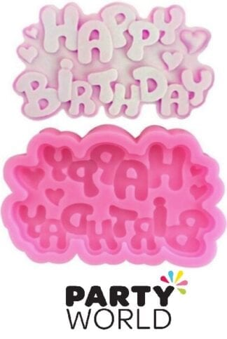 Happy Birthday Script Silicon Fondant Mold