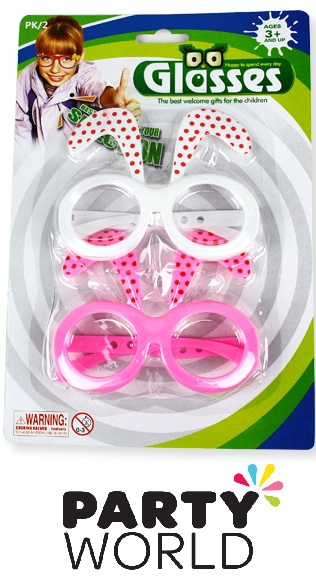 Pink And White Party Glasses With Bunny Ears (2pr)