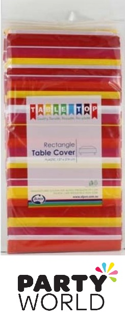 Red And Pink Stripes Printed Rectangular Tablecover