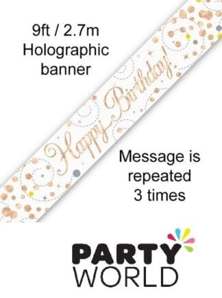 Rose Gold Sparkling Fizz Happy Birthday Foil Banner