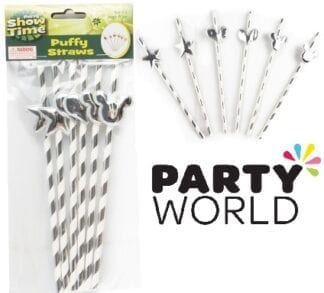 Silver And White Striped Straws With Stars, Hearts And Bunny Ears (6)