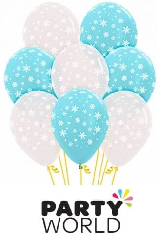Snowflakes Clear And Blue Latex 30cm Balloons (50)