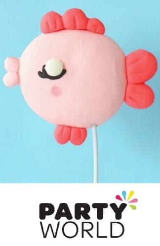 Under The Sea Creature Pink Fish Party Cake Topper