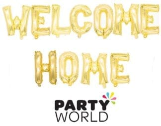 Welcome Home Gold Foil Balloon Banner