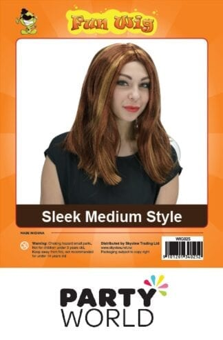 Womens Brown Sleek Medium Style Wig