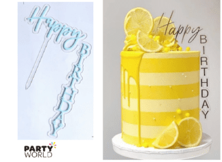 blue vertical cake topper happy birthday